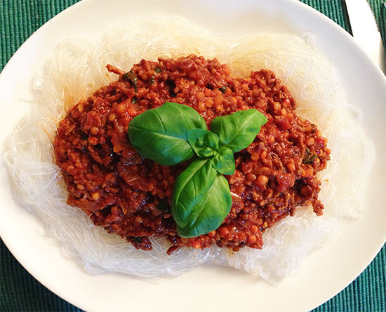 SlowCarb Nudeln mit Bolognese
